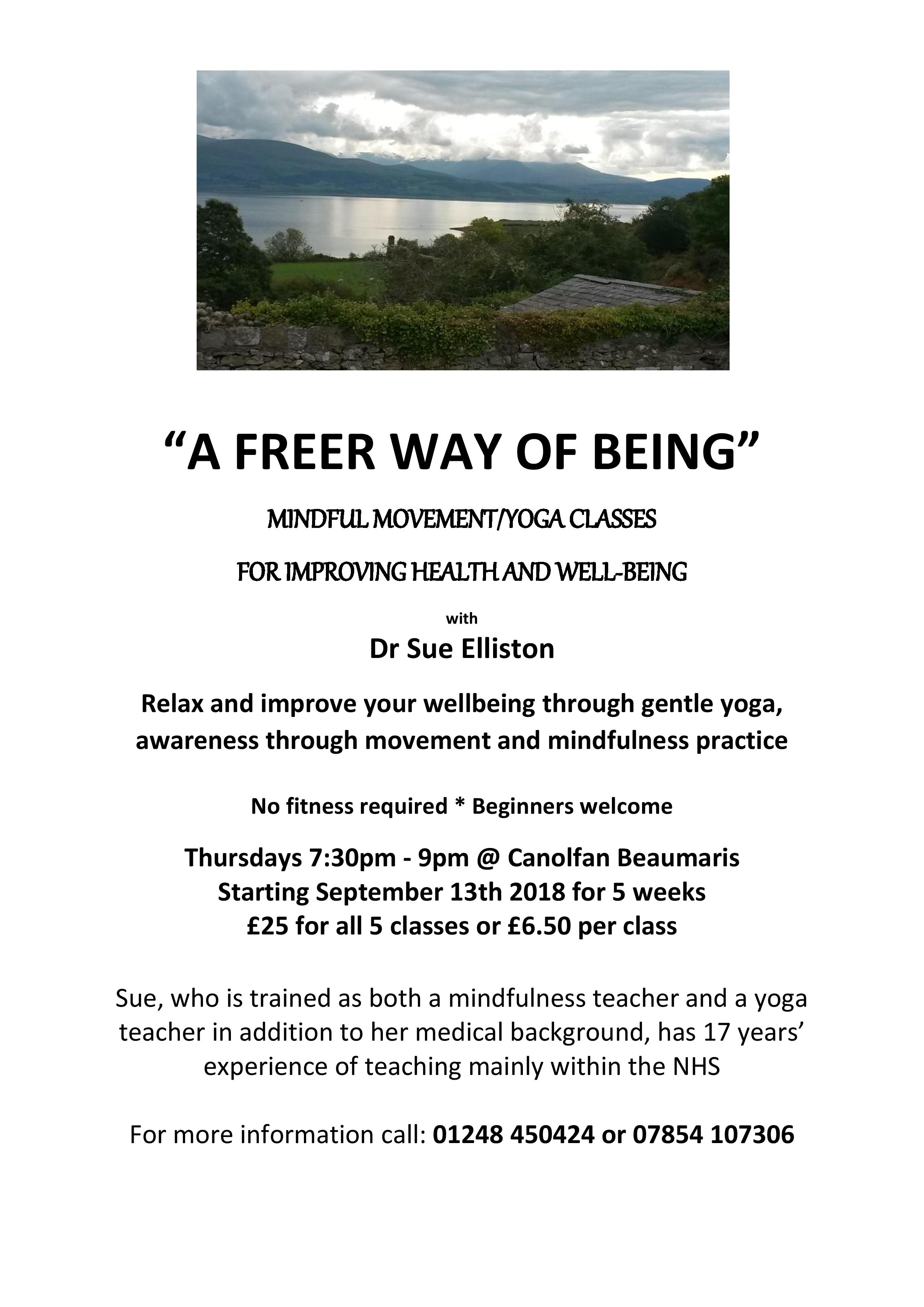 """A FREER WAY OF BEING"" – Mindful Movement/Yoga Classes For Improved Health And Well-being, With Dr Sue Elliston"