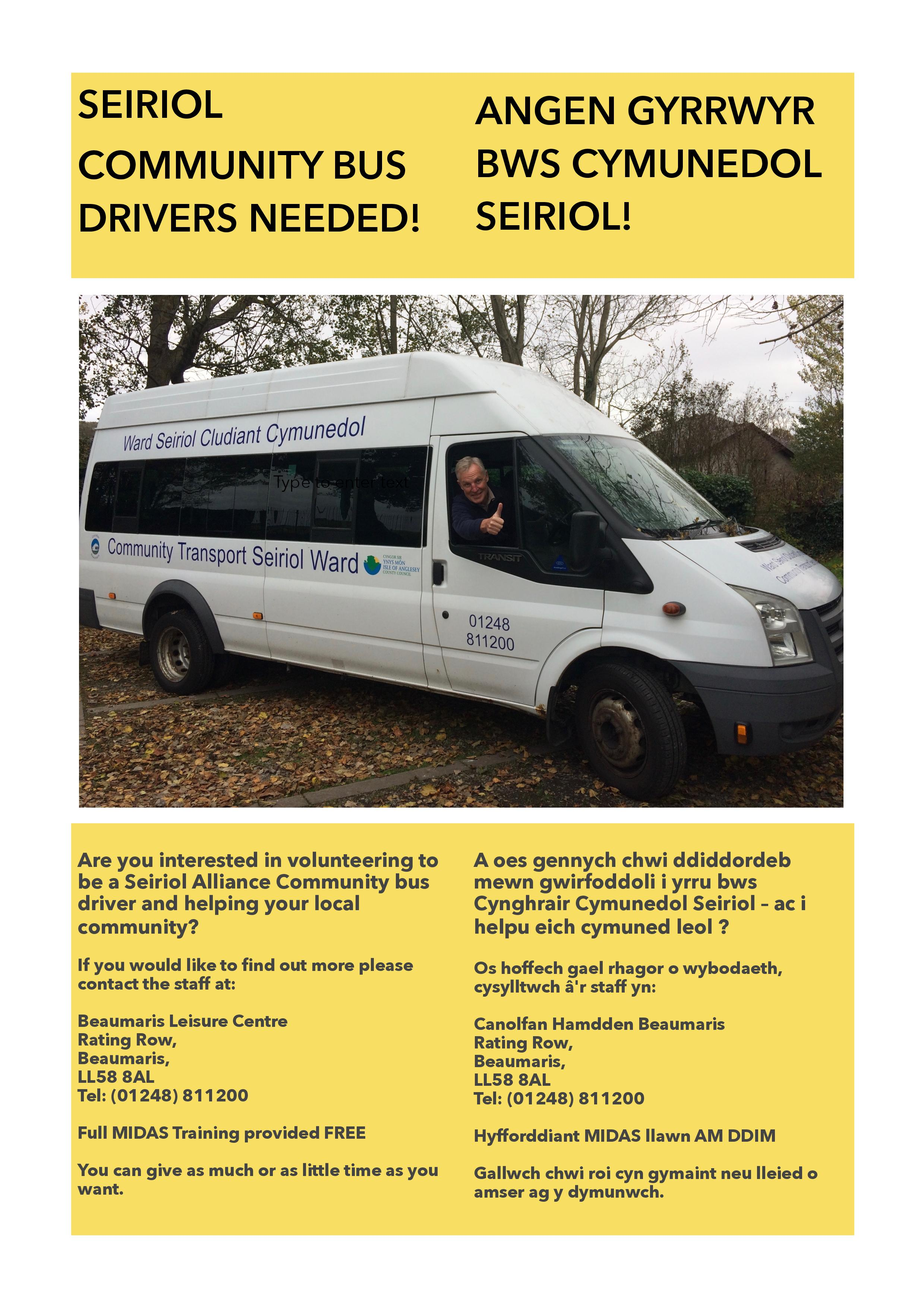 Seiriol Community Bus Drivers Needed!